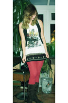 white t-shirt - dark brown boots - ruby red tights - black Bershka vest