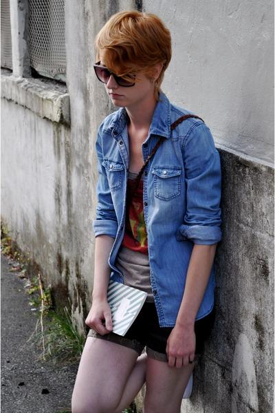 JNBY t-shirt - American Eagle shirt - free people shorts - Paul Frank sunglasses