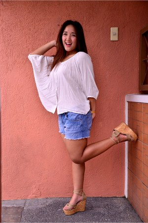 white oversized thrifted blouse - blue cotton on shorts - tan strappy wedges