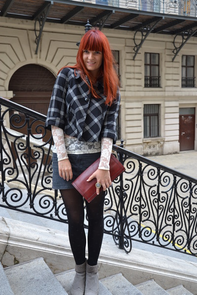 black H&M blazer - cream lace H&M shirt - brick red leather vintage bag