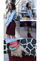 brick red pencil skirt H&M skirt - denim vintage shirt