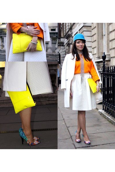 violet bomb H&M hat - carrot orange Zara sweater - yellow clutch Bershka bag