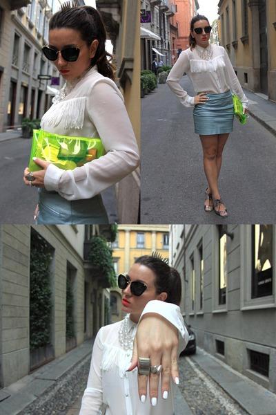 white fringed shirt pull&bear shirt - yellow BLANCO bag - sky blue H&M skirt