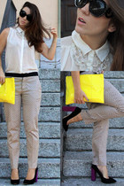 H&M necklace - neon clutch Bershka bag - Zara heels - printed pants Zara pants