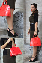 red alma Louis Vuitton bag - army green Mango dress