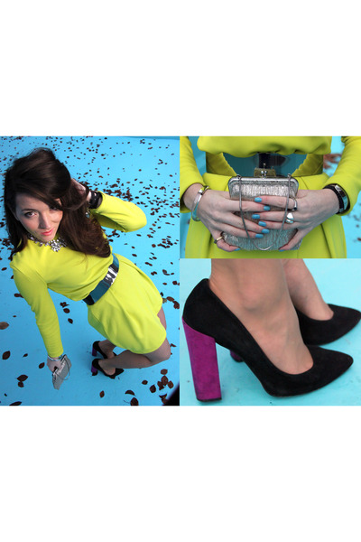 silver silver vintage bag - yellow neon H&M Trend dress - magenta Zara heels