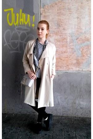beige H&M coat - black H&M jeans - heather gray H&M shirt