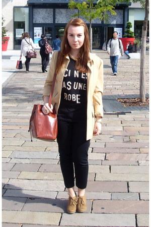 camel new look wedges - camel thrifted mango blazer - black Monki shirt