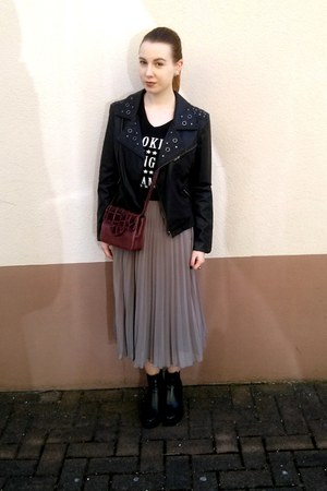 black Creamod boots - black Orsay jacket - black Primark shirt