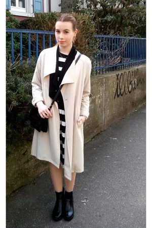 black Creamod boots - black H&M dress - beige H&M coat - black H&M blazer