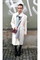 cream Thrifted Zara coat - black Creamod boots - black Zara sweater