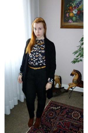brick red H&M boots - navy H&M blouse - black H&M pants - black H&M cape