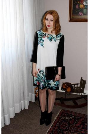gold Tally Weijl bracelet - black Aldo boots - white H&M dress