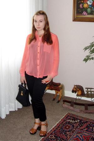 coral new look blouse - black vintage bag - black H&M pants