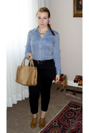 sky blue c&a blouse - camel vintage bag - tawny new look wedges