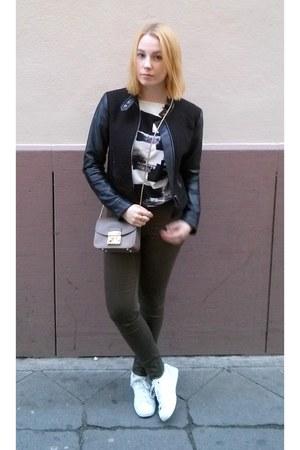army green H&M jeans - black H&M jacket - white DressLink shirt