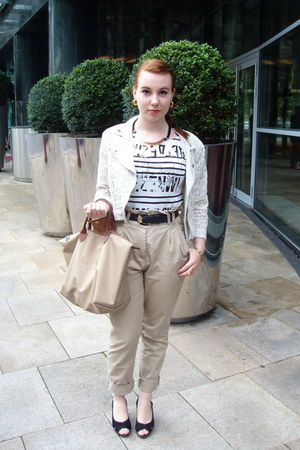 white Promod shirt - off white H&M blazer - eggshell longchamp bag