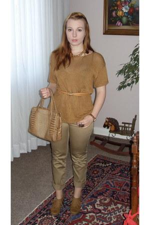 camel Mango pants - camel H&M shirt - camel vintage bag - mustard Newlook wedges
