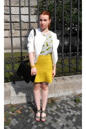 white unknown brand jacket - white H&M shirt - black unknown brand bag