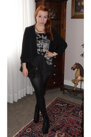 H&M blazer - new look shirt - second hand bag - H&M shorts - H&M wedges
