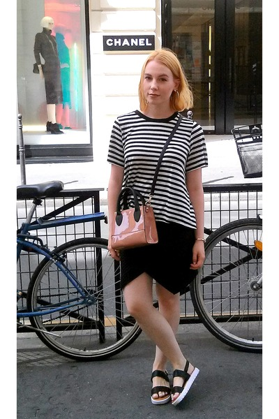 black H&M skirt - white H&M shirt - nude new look bag - black unknown sandals