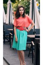 aquamarine self-made skirt - salmon self-made top - salmon Oggi belt