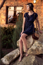 navy Orsay dress - dark brown house bag - navy handmade accessories
