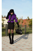 black stockings Stesso boots - deep purple zebra coat - black Glance hat