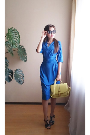 blue CDNirect dress - light yellow CDNirect bag