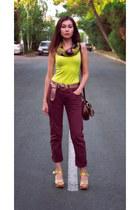 maroon New Yorker jeans - mustard vintage scarf - brown house bag
