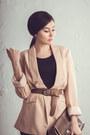 Dark-brown-faux-leather-new-yorker-leggings-nude-promod-blazer