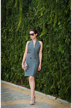 heather gray oversized vest Bray Steve Alan dress