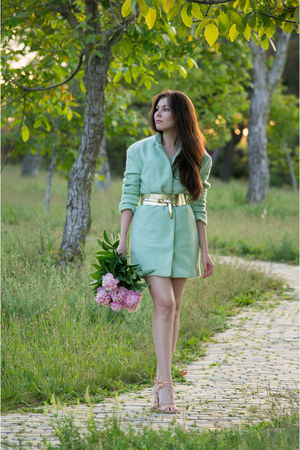 light blue Sheinside coat - nude Mango sandals