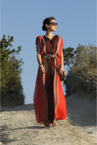 red ostin dress - dark brown house bag