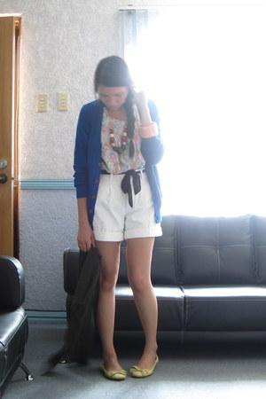 white high waist shorts - bubble gum online buy floral top - blue H&M cardigan -