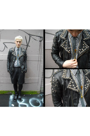 diy studded H&M jacket - HUE leggings - H&M shirt - vintage shorts - vintage nec