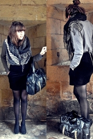 black H&amp;M skirt - black asos accessories - blue H&amp;M t-shirt - gray H&amp;M cardigan 