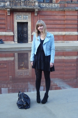 H&M jacket - Marc by Marc Jacobs accessories - Topshop dress - H&M tights - Offi