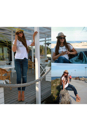 Zara t-shirt - Zara jeans - asos wedges