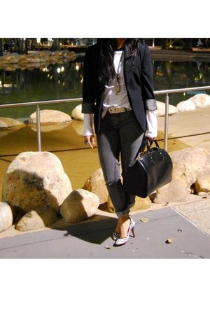 black Cue blazer - black diana shoes - gray acne jeans - black Louis Vuitton bag