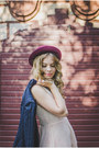 Light-pink-the-pony-tail-dress-maroon-new-look-hat-navy-h-m-blazer