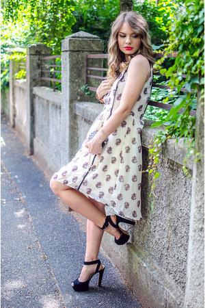 black pull&bear bag - white H&M dress - black Zara sandals