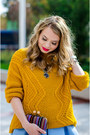 Light-blue-sheinside-dress-mustard-pimkie-sweater-crimson-stradivarius-pumps