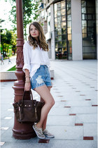 dark brown unknown bag - white H&M shirt - sky blue unknown shorts