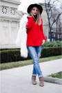 Tan-stradivarius-boots-blue-bershka-jeans-black-h-m-hat-red-zara-sweater