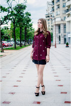 maroon Pimkie shirt - black Zara sandals - black H&M skirt