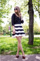 black Stradivarius shirt - black Stradivarius skirt - black Zara heels