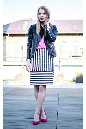 black pull&bear jacket - bubble gum H&M shirt - black Front Row Shop skirt