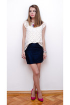 navy Lefties skirt - white Lefties blouse - hot pink Bershka heels