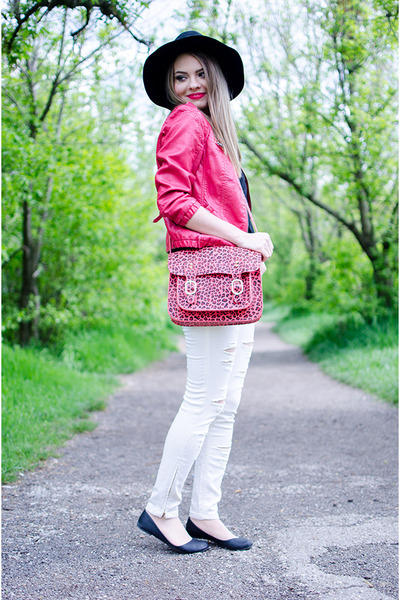 hot pink Bershka jacket - black H&M hat - hot pink Bershka bag